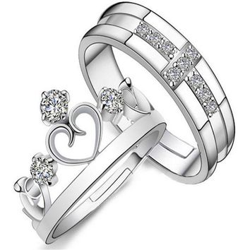 ESBONG Stylish Jewelry New Arrival Gift Shiny Couple Crown Prince Princess Ring [11107416980]