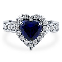 Sterling Silver Simulated Blue Sapphire CZ Halo Heart Ring 2.43 ct.twBe the first to write a reviewSKU# R976-05