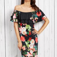 Elegant Slash Neck Flounce Hem Floral Printed Dress - NOVASHE.com