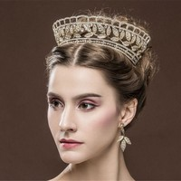 PREORDER Elegant Vintage Gold Crystal Bridal Wedding Pageant Tiara Crown & Earrings Set