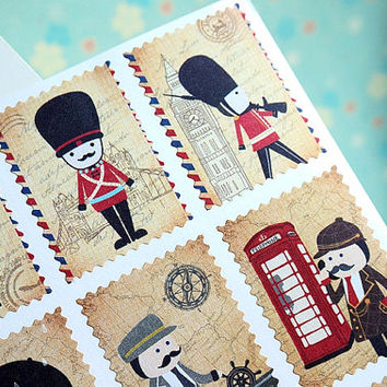 UK Soldier sticker UK army London bus stamp sticker war game US army toy soldier sticker Us flag Uk flag France flag sticker retro stamp