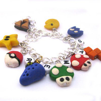 Gamer charm bracelet beaded Zelda Mario Pacman by Mandyscharms