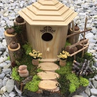 home decor, nature decor, garden decor, outdoor decor, outdoor decoration, whimsical decor, fairy garden, wood birdhouse, wooden bird house