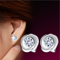 High Quality Fashion 925 Sterling Silver Rose Flower Shaped Austrian Crystal Stud Earrings for Women (Color: Silver) = 1669405060