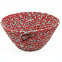 Coiled Fabric Bowl, Basket, Red/Grey