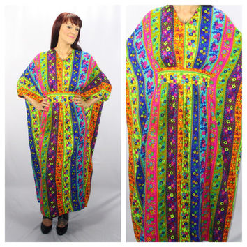 FLOWER POWER DRESS Dazzling Vintage 1960's Multicolored Kaftan Style Dress