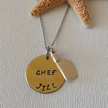 Chefs necklace, chef pendant, foodie gifts, chef necklace with knife, gofts for chefs, chef keyring, personalized