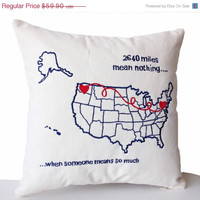 Valentine SALE Personalized US Map Pillow Cover -Long Distance Relation Pillow -Couple Pillow -Romantic Pillows -16x16 -Gift Wedding -Engage