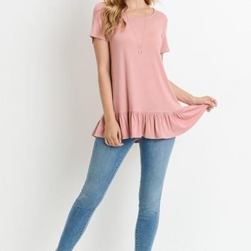 Saturday Morning Ruffle Peach Shirt