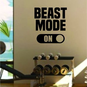 Beast Mode On V2 Gym Fitness Quote Weights Health Design Decal Sticker Wall Vinyl Art Decor Home Lift