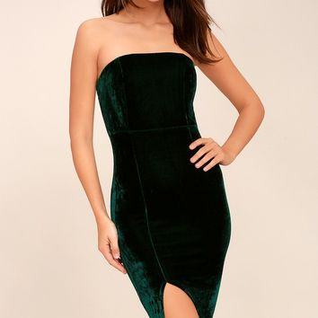 Hey Baby Forest Green Velvet Strapless Bodycon Midi Dress