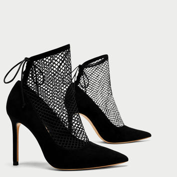 HIGH HEEL SHOES WITH MESH DETAILS