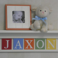 "Children Decor - Nursery Wall Decor 24"" Linen White Shelf and 5 Wooden Letter Plaques in Red, Light Blue, Orange, Green, Yellow - JAXON"