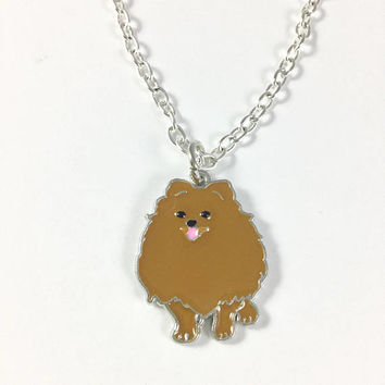 Pomeranian Charm Necklace-Pomeranian Jewelry-Pomeranian Dog Jewelry-Dog lovers chain-brown Fluffy dog charm-Petlovers gift-Stocking Stuffers