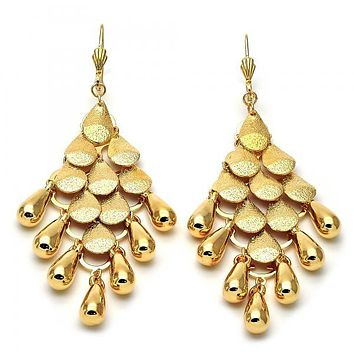 Gold Layered 02.63.2133 Chandelier Earring, Teardrop Design, Matte Finish, Gold Tone
