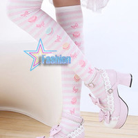 Lolita White / Black Stripes Trendy Hosiery Thigh High Socks Stockings