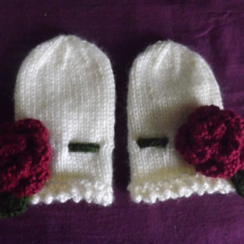 Thumbless Baby Mittens - Knitted Baby Mittens with Rose Embellishment - Flower Baby Mittens