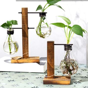 Vintage Style Glass Tabletop Plant Bonsai Flower Wedding Decorative Vase With Wooden L/T Shape Tray Home Decoration Accessories