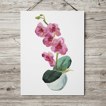 Botanical art Potted plant poster Flower print Watercolor print ACW649