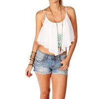 Off White Chiffon Crop Top