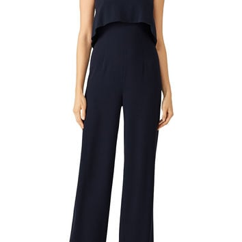 ML Monique Lhuillier Navy Ruffle Jumpsuit