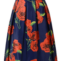 Dark Blue Rose Printed High Waist Midi Skirt
