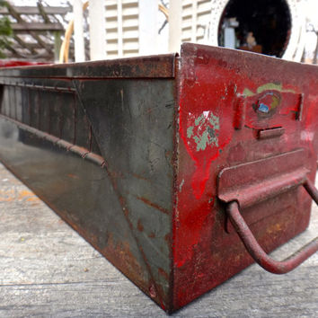 Metal Drawer, Red Cubby Drawer, Industrial Storage, Steampunk Decor, File Cabinet Drawer, Man Cave Decor, Industrial Box, Office Storage