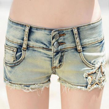 CREYCI7 Sexy mini ripped jean shorts for women summer stylish washed distressted shorts ladies sexy light blue bodycon denim shorts