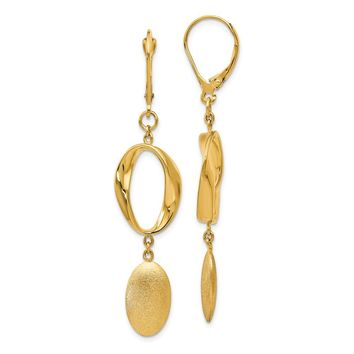 14k Yellow Gold Polished Leverback Earrings