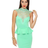 Sexy Mint Green Dress - Lace Dress - Peplum Dress - $42.00