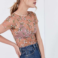 Kimchi Blue Lilac Embroidered Sheer Short Sleeve Tee   Urban Outfitters