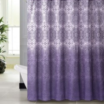"Vienna Purple Embossed Microfiber Shower Curtain- 72""x 72"""