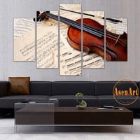 5 Panel Canvas Art Still Life Violin Painting Music Score Canvas Prints Wall Pictures for Living Room Modern Home Decor No Frame