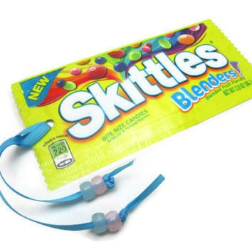 Skittles Recycled/Upcycled Candy Wrapper Bookmark with Glow-in-the-Dark Beads