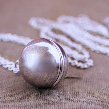 Silver Ball Locket Necklace  Round Ball Sphere by HeartworksByLori