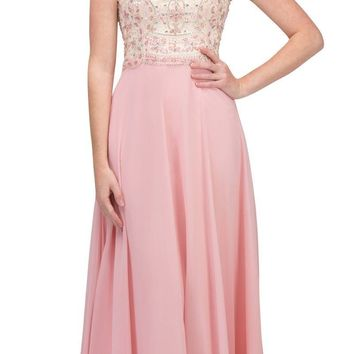 Illusion Sweetheart Neckline Beaded Long Prom Dress Blush