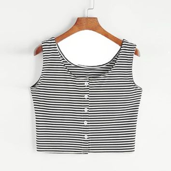 Women Lady sleeveless black and white striped button tight vest Crop Top