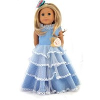 Ebuddy Blue Vintage Palace Dress Clothes Fits 18 Inch Doll