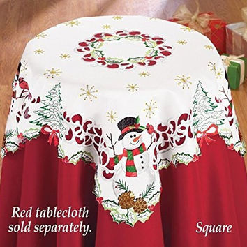 Snowman Embroidered Cardinal Table Square Christmas Winter Home Holiday Decor