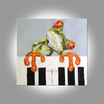 Frog painting On Canvas abstract pet painting acrylic anilmal painting Wall Art pictures for living room home decor hand-made painting