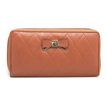 Quilted Bow Wallet In Brown