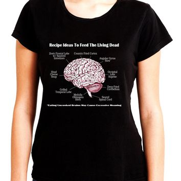 Brain Recipes Ideas for Zombies Women's Babydoll Shirt Top