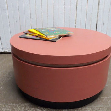 "Vintage Cylinder coffee table, pink formica. very rare modern style home decor retro side table. Unique table 30"" diameter 15"" tall"