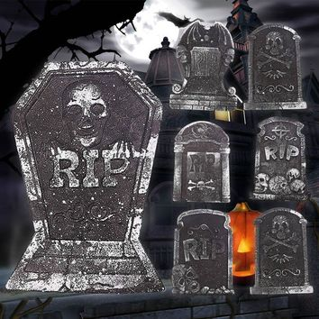 1pc Halloween Foam Tombstone Skeleton Tombstone Haunted House Stone Grisly Props Party Decor Yard Decor(Random Shipping) A30