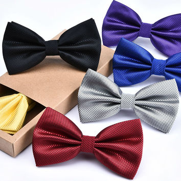 New Good Quality  Grid Bow Tie For Men Women Banquet Wedding Party Groom Plaid Solid Color Butterfly Knot Black Red White