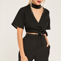 Missguided - Black Choker Neck Tie Waist Crop Top