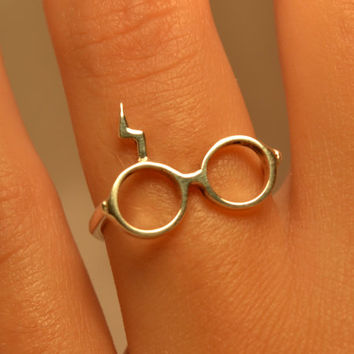 Ring Harry Potter Sterling Silver 925 Shining Harry Potter Ring Lightning Glasses with Scar Geek Modern Jewelry Adjustable Fashion Jewelry