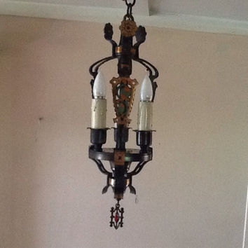 Antique Art Deco Entryway Foyer hanging Pendant Light 1920s