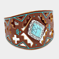 "8"" brown patina aztec boho bracelet bangle cuff turquoise"