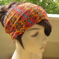 Aztec Tribal Print Turban Head Wrap, Hair Turband, Headband, Orange and Brown Tones, Back to School Accessories